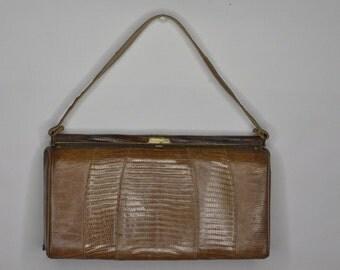 Vintage Estate Brown Reptile Leather Purse