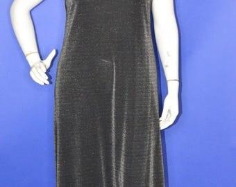 Vintage Estate Silhouettes Black Silver Lurex Maxi Dress