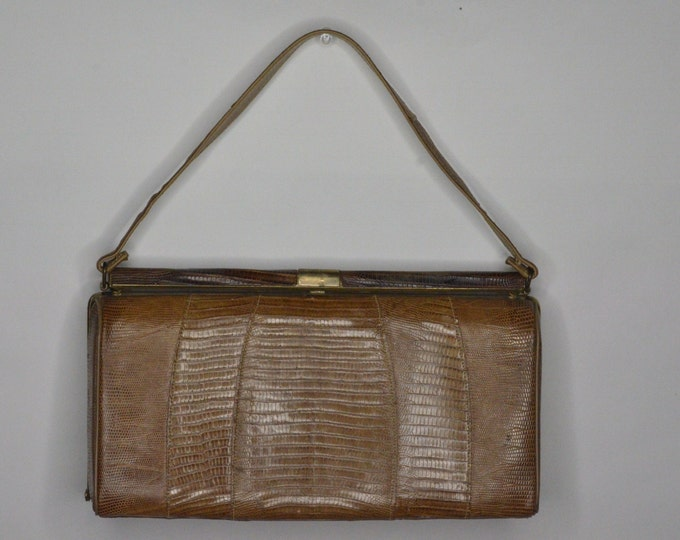 Vintage Estate Brown Reptile Leather Purse