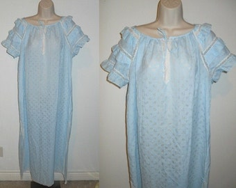 """Vintage Ultra Femme ~ E Braun & Co ~ Baby Blue Light Cotton Nightgown ~ Semi Sheer ~ Ruffled ~ Pretty Girl ~ Made in Germany ~ XL 52"""" Bust"""