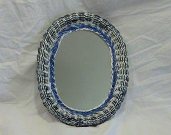 Mirror, Wicker Frame, Oval