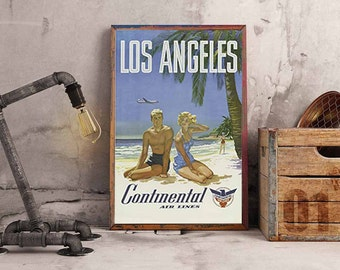 Continental Airlines, Los Angeles, Vintage Poster, Advert, ArtHangar, Travel Poster, Giclée, Print, Blue