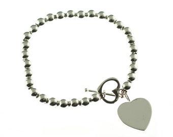 Silver Beaded Heart Toggle Bracelet