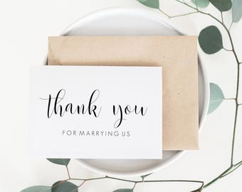 Thank You For Marrying Us Card. Officiant Card. Pastor Wedding Card. Wedding Card For Minister. Wedding Thank You Card. Wedding Cards.