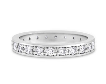1.07 CT Natural Diamond 3 mm Eternity Band in Solid 14k White Gold