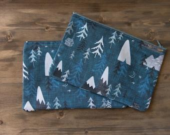 Teal Mountain Zipper Pouch, Makeup Bag, Mountains, PNW, Pencil Pouch, Zipper Pouch, Cosmetic Bag, Toiletry Bag