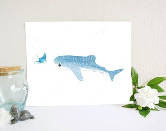 Whale Shark Watercolor Painting Print, Whale Shark Art Print, Ocean Nursery Decor, Manta Ray, Ocean Watercolor, Shark Nursery, Shark Print