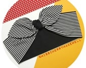 Beetlejuice Black and White Stripe Rockabilly Punk Vintage Inspired Self Tie Head Scarf Hair Tie Headscarf Hair Bow by Miss Cherry Makewell