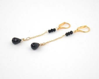 DROPS - Onyx and Gold filled Long Earrings and Semi-Precious Stones