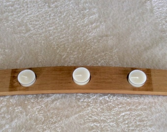 Wine stave candle holder