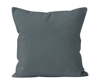 Blue Gray Pillow Cover, Solid Blue Gray Pillow Cover, Blue Gray Toss Pillow Cover, Blue Gray Cushion Cover, Throw Pillow Cover 18x18
