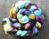 WINDWARD color, Superwash Targhee spinning fiber, roving, handpainted, hand dyed, combed top, domestic, American made, wool