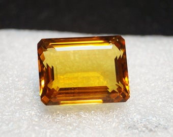 60% OFF Citrine Emerald Cut Stone - 22x17x10 mm 30.70 Carat Loose Citrine Gemstone Faceted Citrine Stone / Octagon Citrine / Citrine Quartz