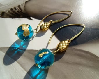 AQUA MURANO glass beads Precultivation Goldfoil Sea Blue earrings