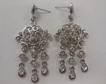 Vintage Chandeliers Earrings Rhinestones Silver Tone Metal Jewelry Retro Bridal Wedding Special Occasion Formal Lady's Fashion Accessories