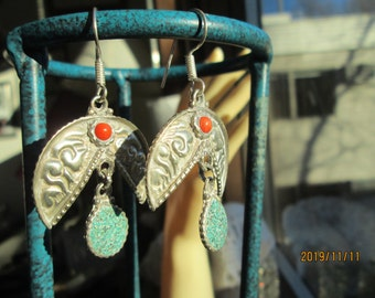 Handcrafted Genuine Turquoise & Coral Native Tibetan Silver Dangle Earrings, Weight 7.8 Grams