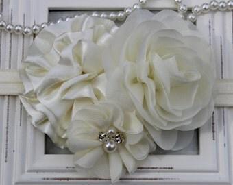 Ivory headbands, ivory girls headband, baptism headband, ivory flower girl headband, ivory hair accessory headband ivory wedding headband