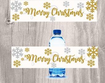 Christmas Water Bottle Labels, Gold Glitter Snowflake Bottle Labels, Elegant Christmas Labels for Drinks, Instant Download, Printable Labels