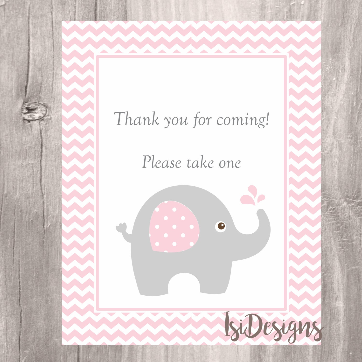 Elephant Baby Shower Sign Pink Elephant Thank you for ing