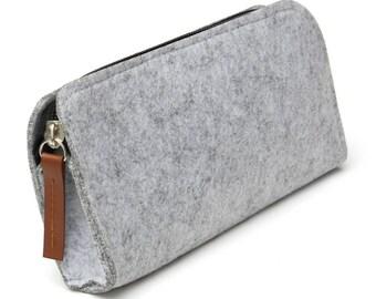 Pencil case, felt - leather tag