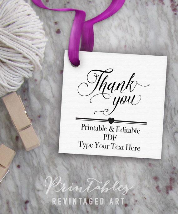 printable thank you tags editable favor tag template thank you gift tags diy digital pdf. Black Bedroom Furniture Sets. Home Design Ideas