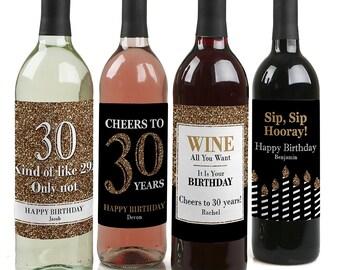 30th Birthday Wine Bottle Labels - Custom Adult Birthday Gold Wine Bottle Labels - Funny Personalized Wine Birthday Gift - Set of 4 Labels