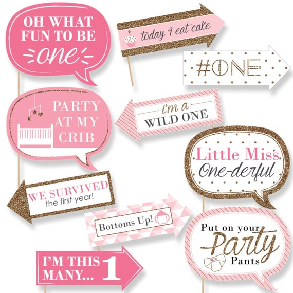 Funny Fun To Be One 1st Birthday Girl Photo Booth Props