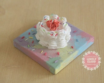 Miniature Birthday Cake Canvas (Magnet!)
