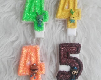 Octonauts glitter birthday number candle, comes in any number you like and character that you like