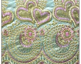 George Silk Fabric with Detailed Finishes Mint, Baby Pink  /Fabric For Sewing /Lace Fabric For Wedding Dresses/ West African inspired Fabric