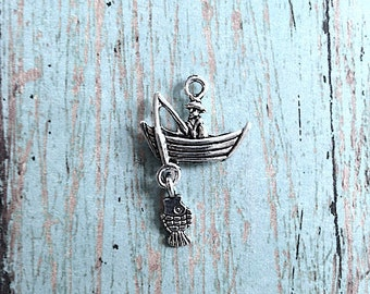 5 Fisherman charms 3D antique silver tone - fishing charms, angler charm, fishing boat pendant, fisherman charm, fishing boat charm, N2