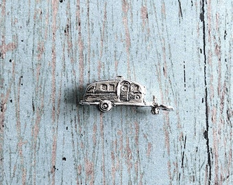 2 Camper charms 3D silver plated pewter - silver RV pendants, airstream trailer charms, tiny house charms, silver camper pendants, L10