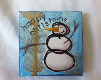 Happy Christmas #2 - Mixed media tiny art