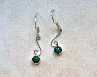 Earrings silver Malachite Green