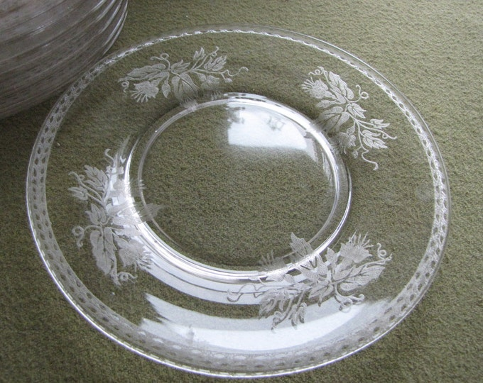 Etched Small Plates Circa 1900s Bread and Butter Plate Antique Dinnerware Set of Eight (8) Small Plates