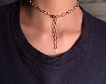 Large chain link necklace choker adjustable