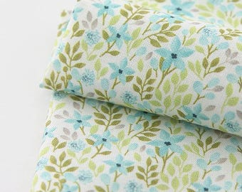 Mint Flower Pattern Digital Printing Cotton Fabric by Yard