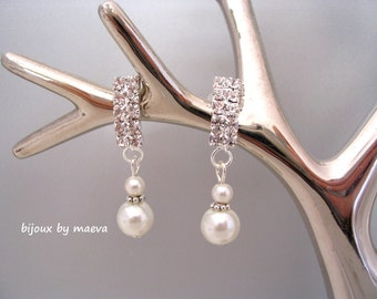 Rhinestone Wedding Jewelry Rhinestone and Pearl Earrings