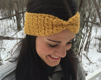 NEW COLORS! Cinched Crochet Winter Headband / Crochet Winter Earwarmer / Winter Headband / Crochet headband / Head Wrap / Stocking Stuffer