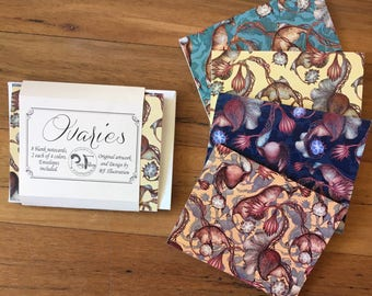 "Floral ""Ovary"" pattern - William Morris-inspired notecards, set of 8"