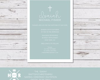 Printable - The 'Isaiah' Modern Baptism | Christening | First Communion Invitation | Baby Naming Ceremony |Classic | Simple