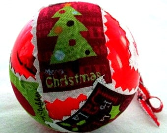 Fabric covered glass ornament EBC0006