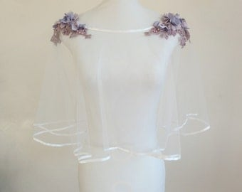 Cape veil tulle wedding dress embroidered with mauve flowers