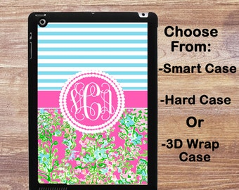 Monogram iPad Case Personalized iPad Air 1/2 Lilly Pullitzer Inspired iPad 2/3/4 Smart Case iPad Mini 1/2/3/4, Pro 9.7 inch 3D Case #2798