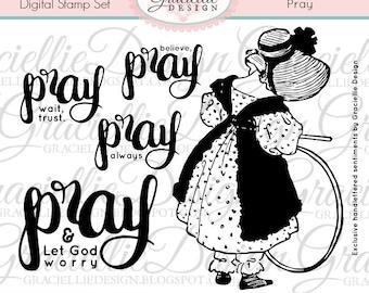 Pray - Handlettered Digital Stamp Set