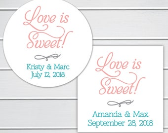 Love Is Sweet Wedding Stickers, Wedding Stickers, Wedding Favor Stickers  (#011)