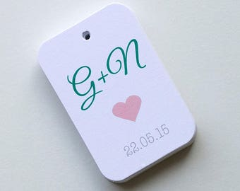 Initial Tags, Initial Favor Tags, Wedding Favor Tags, Small Wedding Favor Tags (RR-024)