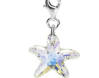 Sterling Silver Swarovski Element AB Crystal Starfish Clip on Charm for Charm Bracelets
