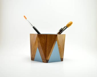 Wooden Pencil Cup, Succulent Planter, Pencil Holder, Desk Accessory, Office Accessory, Wooden Brush Cup, Pen Cup, Wooden Cup