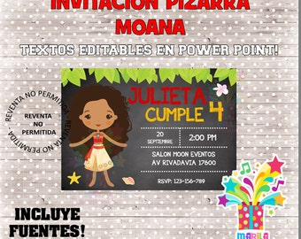 Invitation MOANA type slate Birthday Chalkboard-text editable-instant download